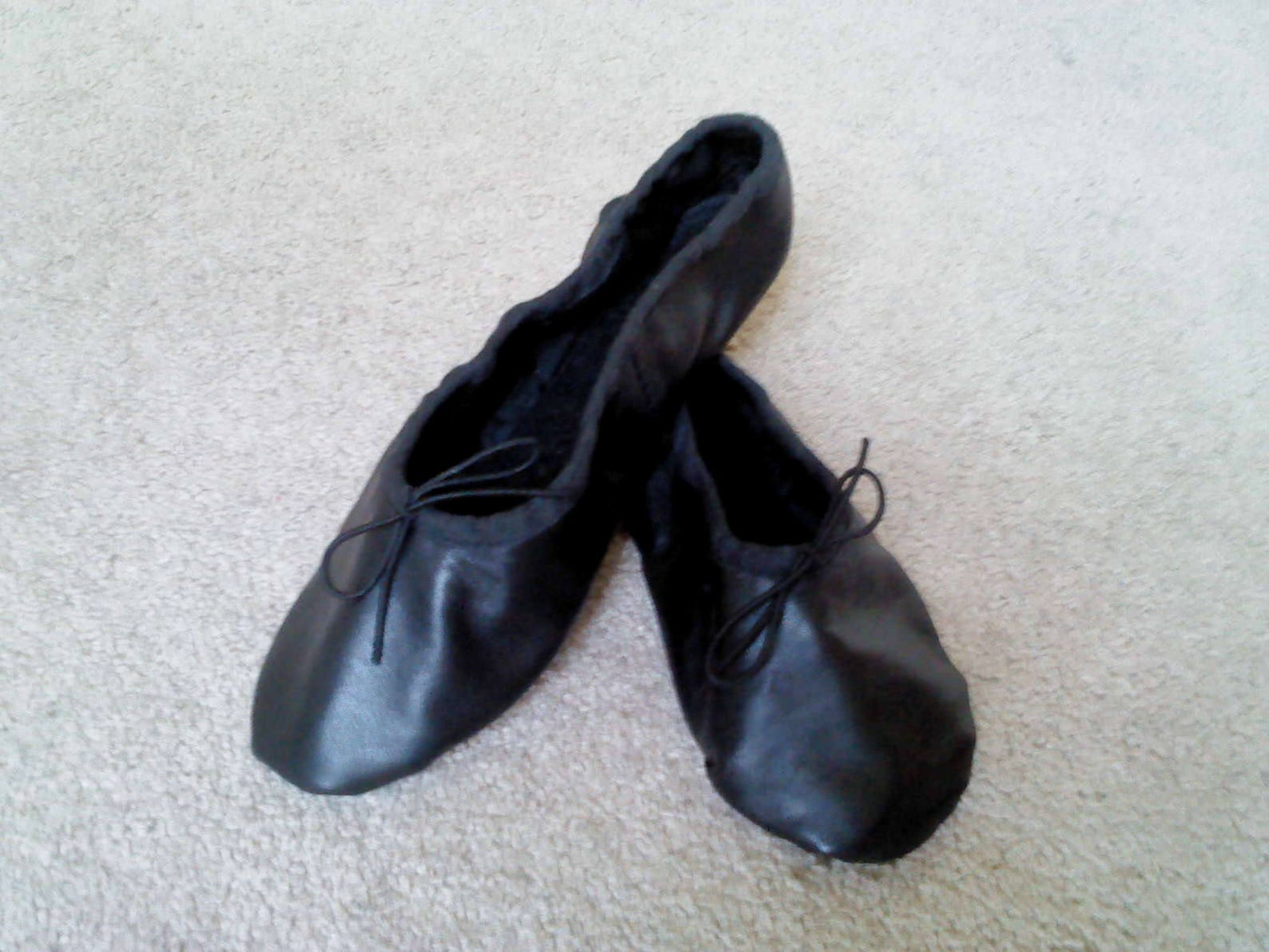 black leather ballet slippers -adult/women's sizes - full sole or split sole