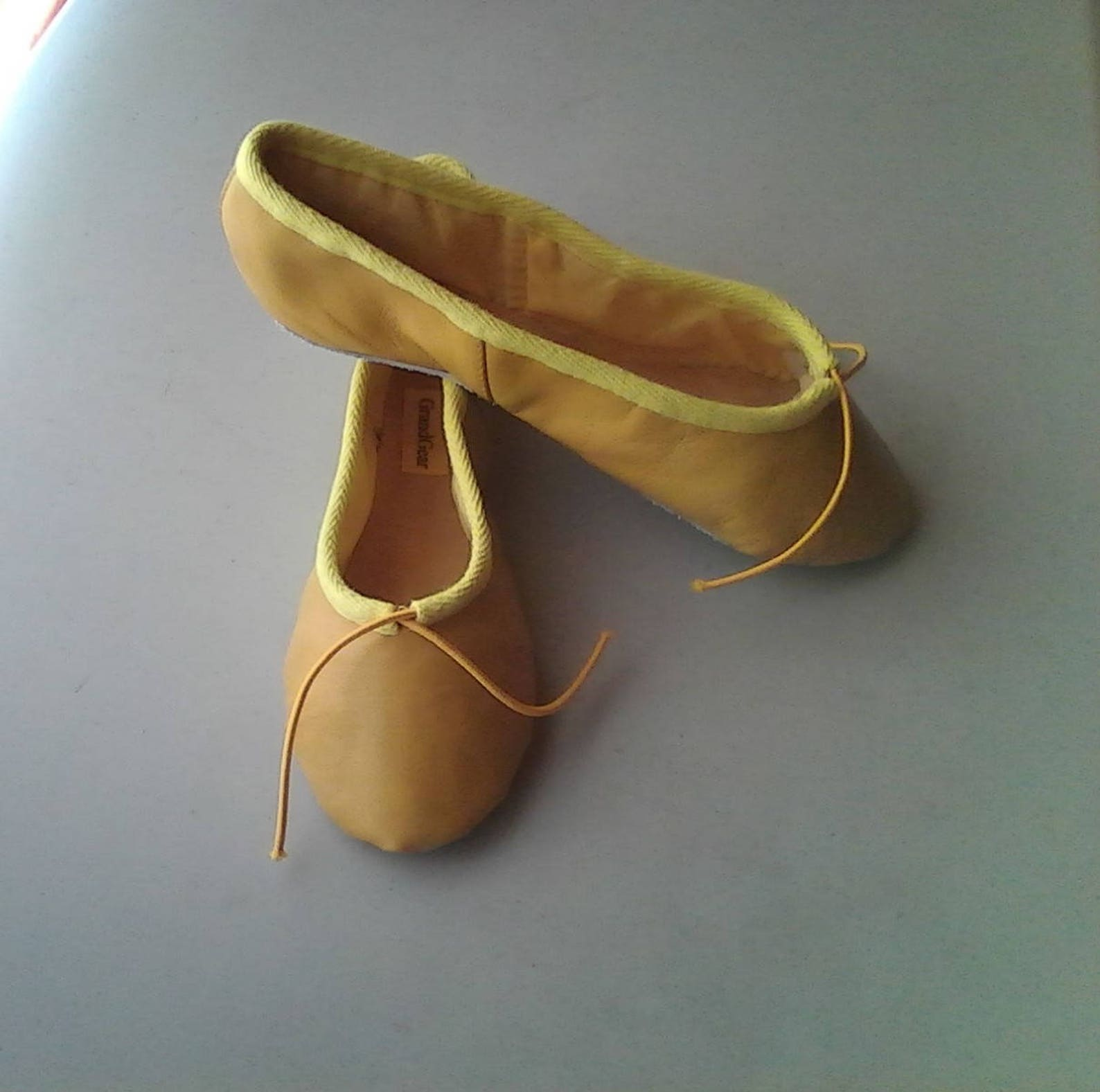 mustard yellow leather ballet shoes - full sole - adult sizes