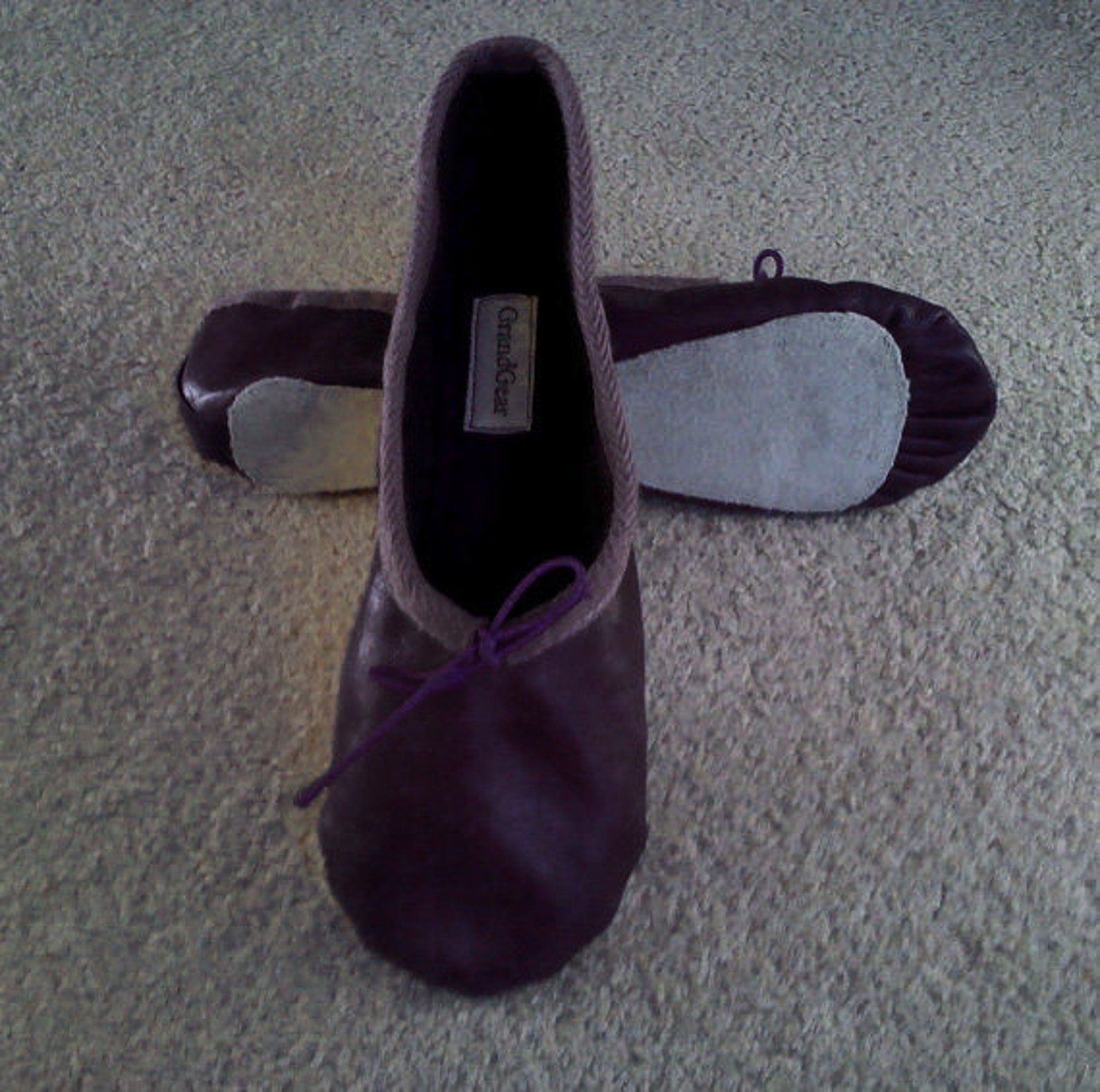 dark aubergine leather ballet shoes - full sole or split sole - adult sizes