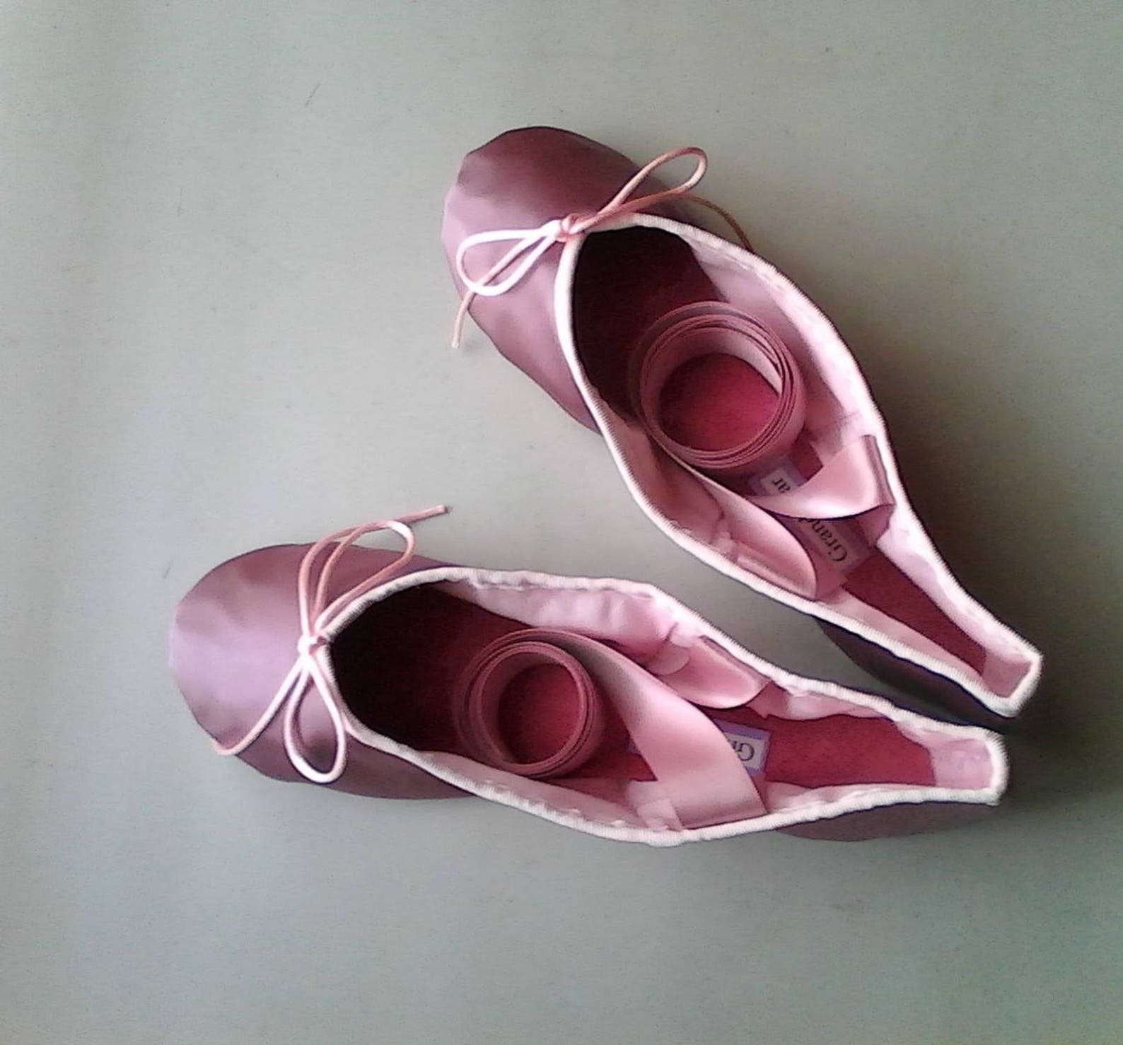 smokey mauve satin ballet shoes - full sole or split sole - adult sizes