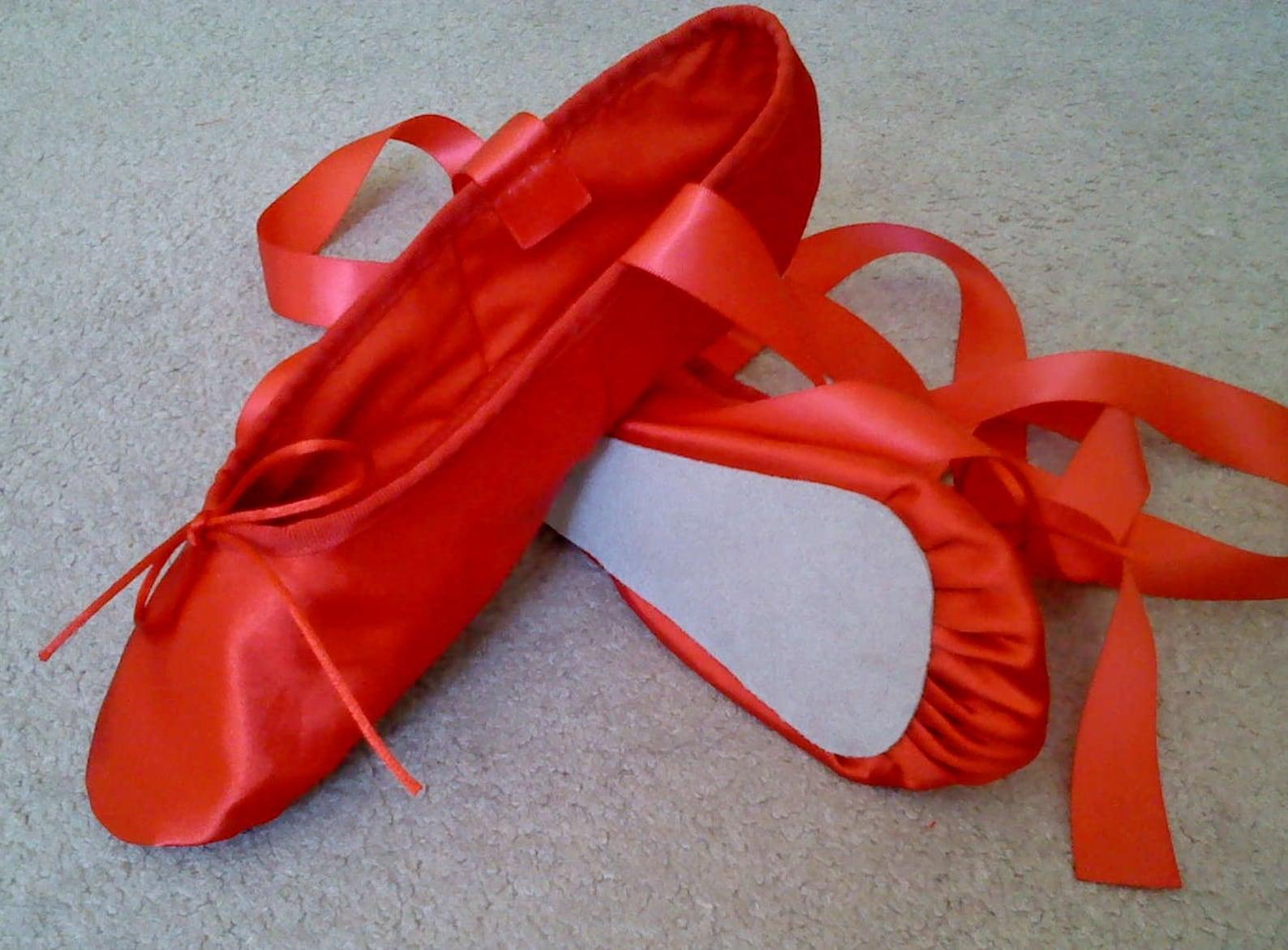 red satin ballet slippers - full soles or split soles