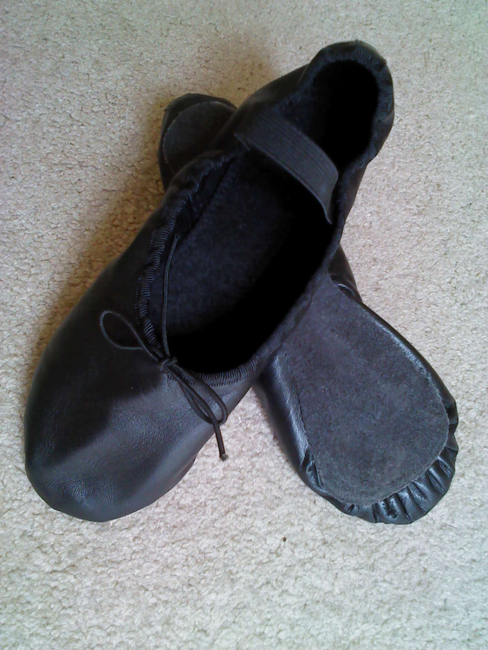 black leather ballet shoes - full sole