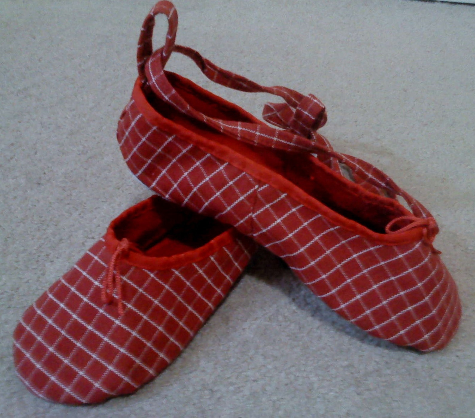 red checked canvas ballet slippers with ankle tie- women's size 7 us / 6 au