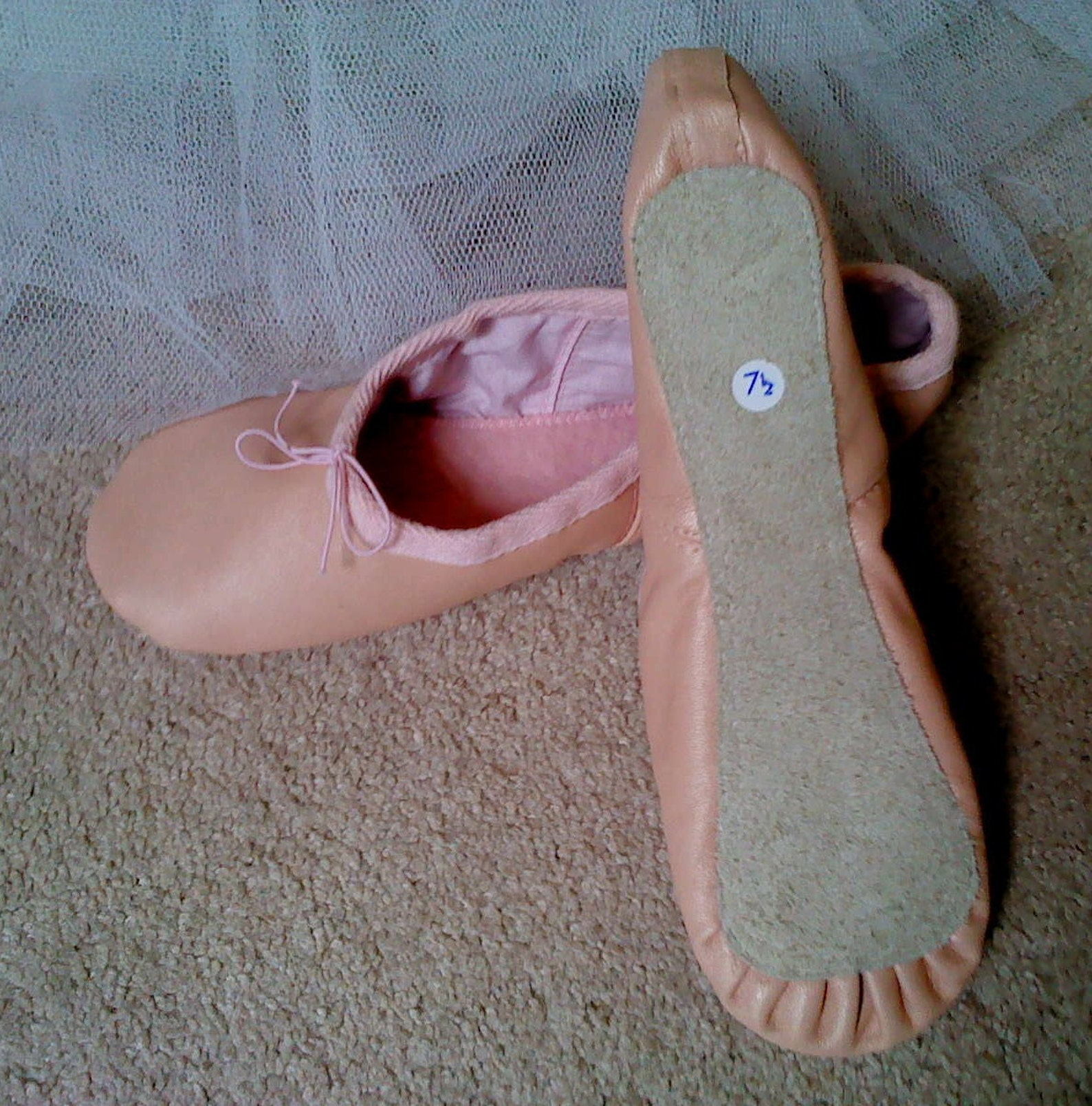 nude pink leather ballet slippers -adult/women's sizes - full sole or split sole