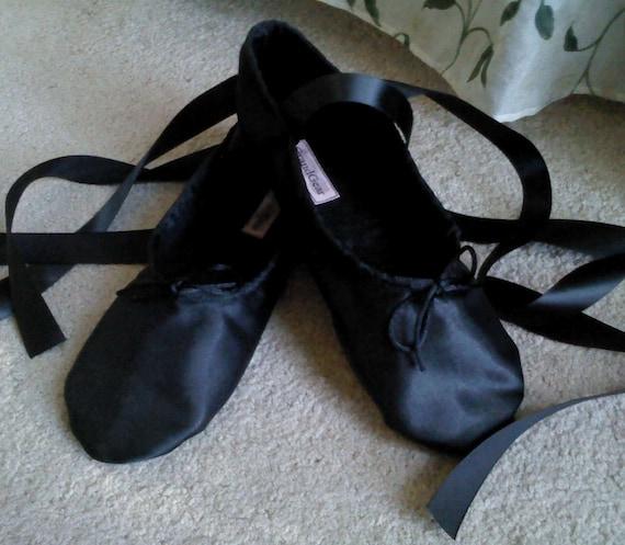 Black Satin Ballet Slippers Women's