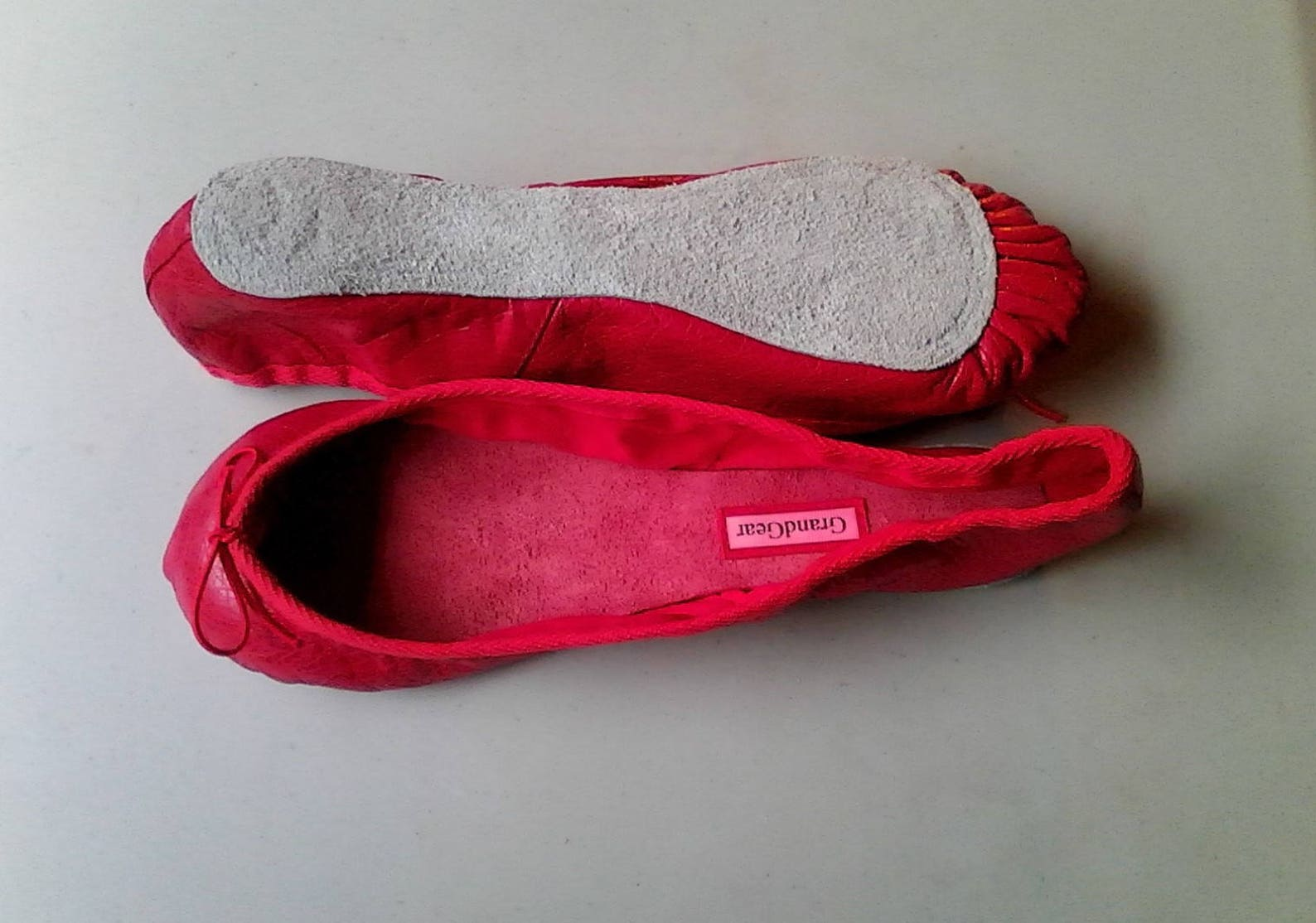 extreme low-cut red leather ballet shoes - adult sizes