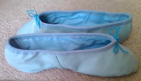 Light Blue Leather Ballet Slippers