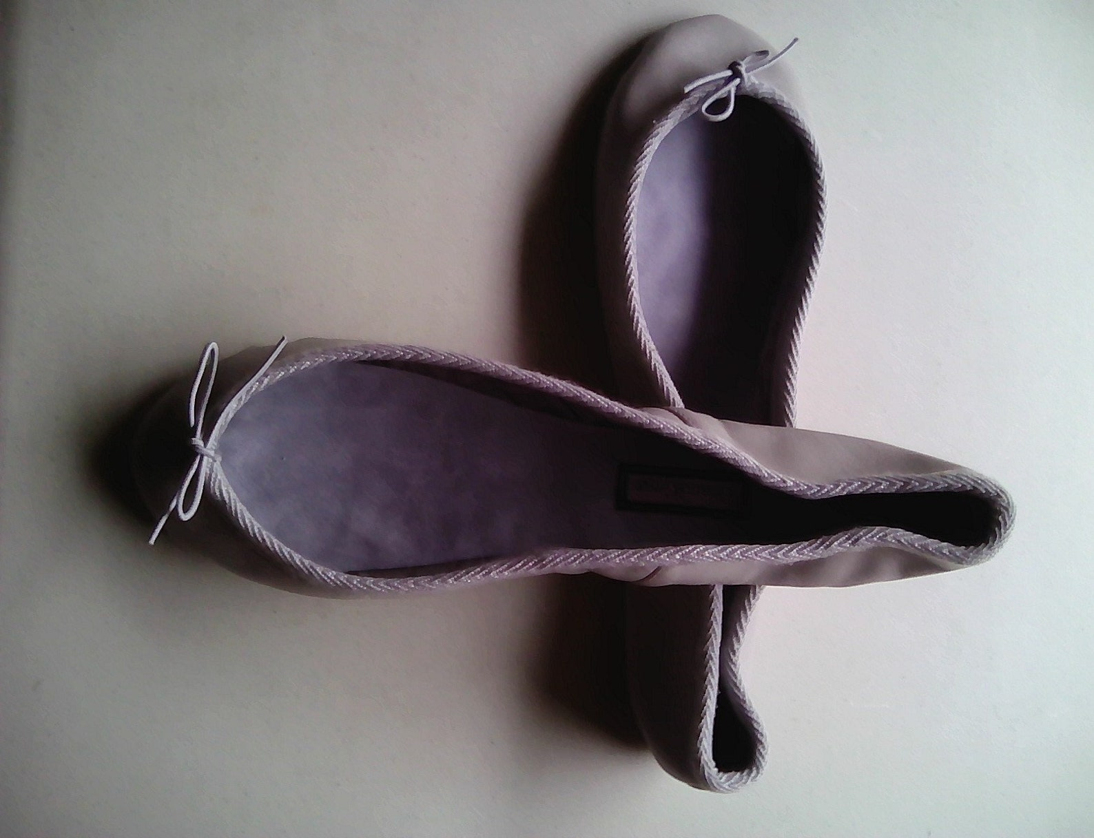 extreme low-cut pale grey leather ballet shoes - adult sizes