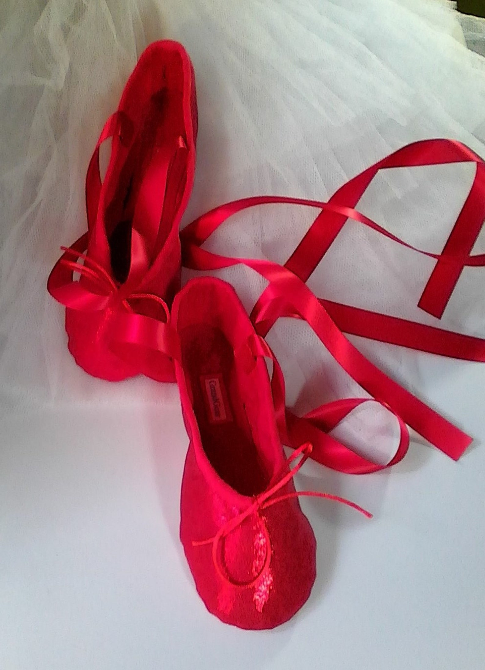 ruby red sparkle ballet slippers - full sole - children's sizes