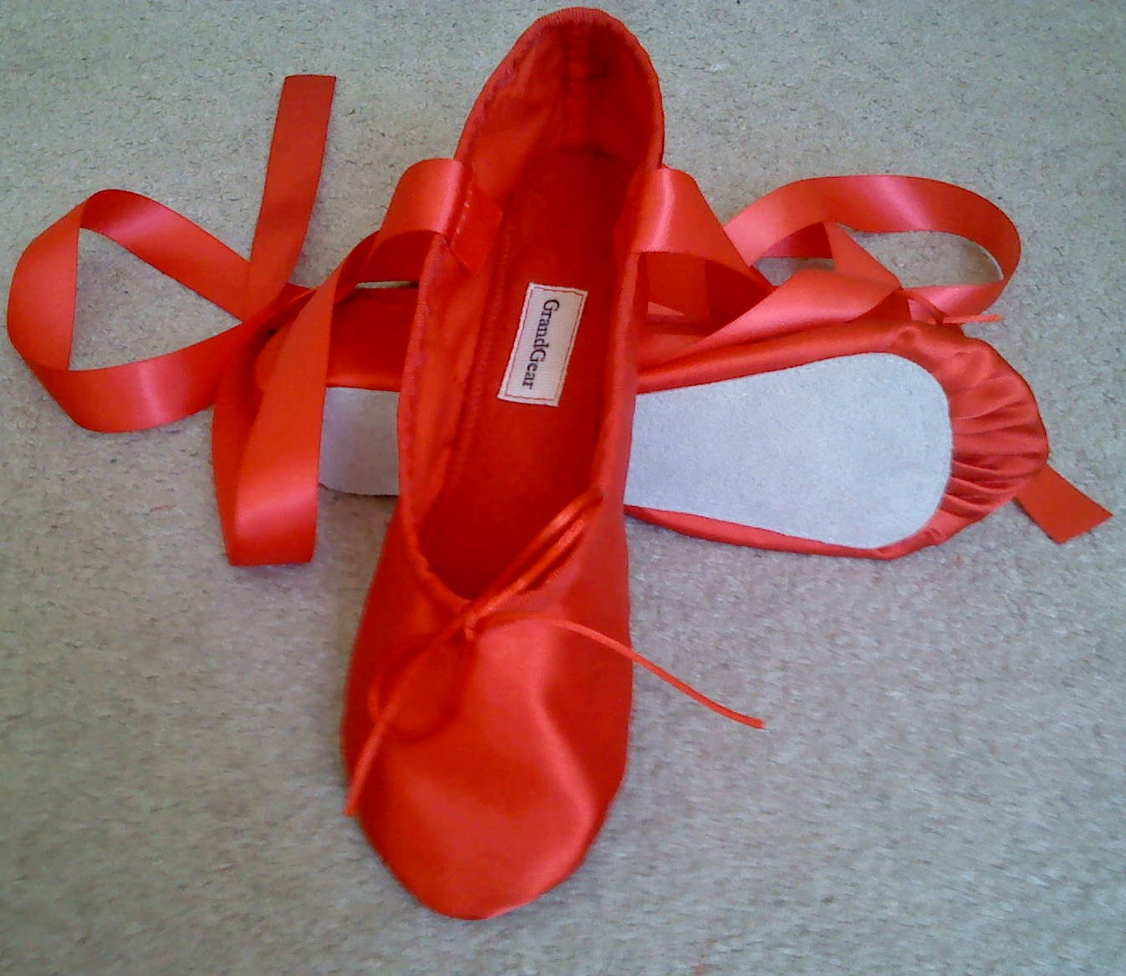 red satin ballet slippers - full soles or split soles