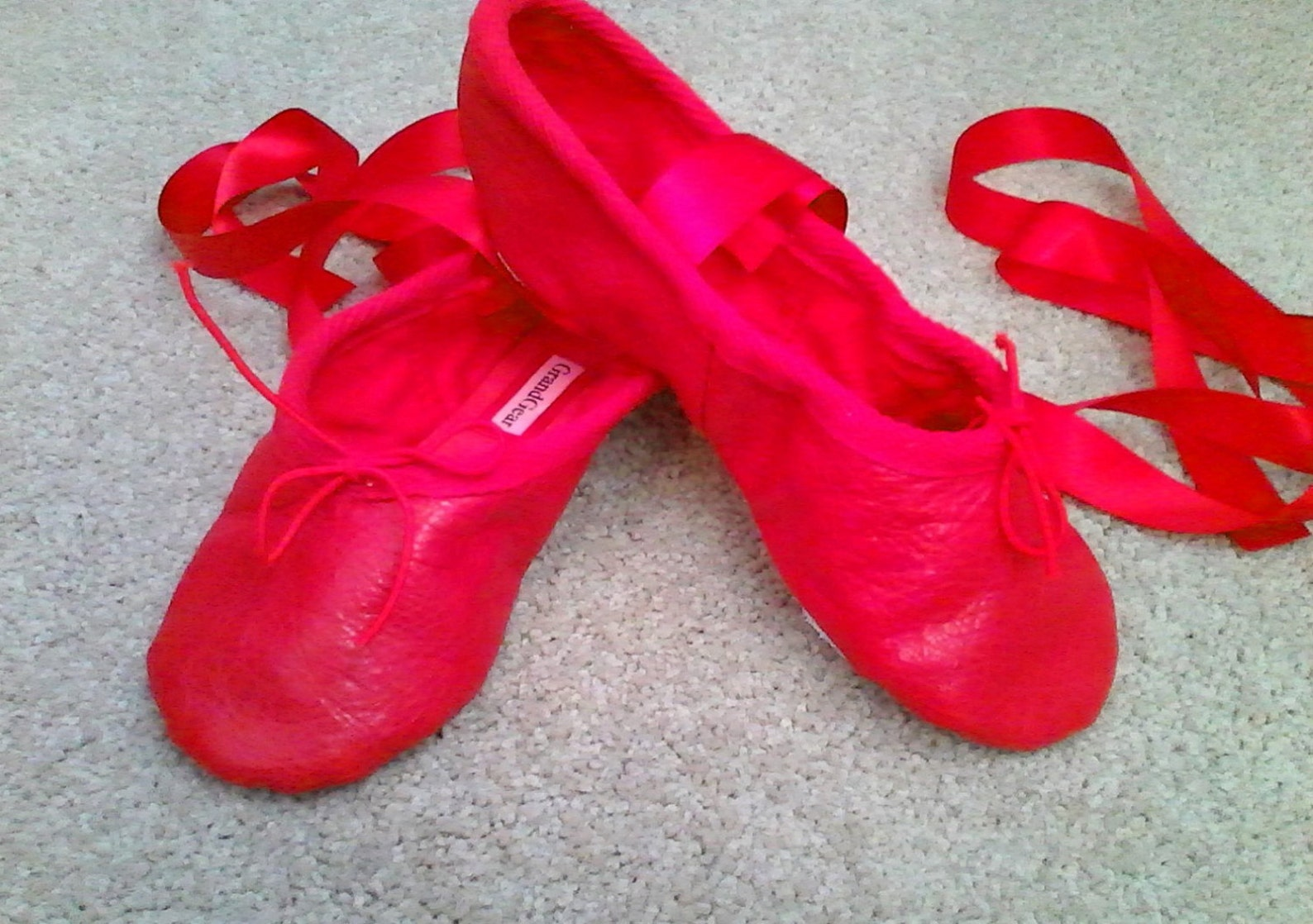 red leather ballet slippers - split soles- in girls (& little girls) sizes.