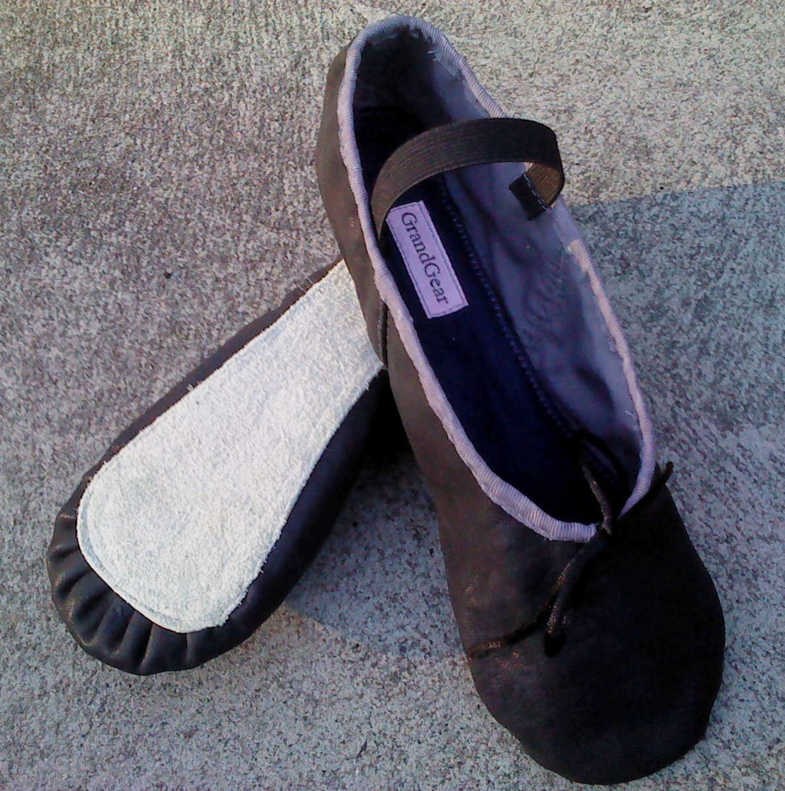 anthracite grey leather ballet shoes - full sole - adult sizes