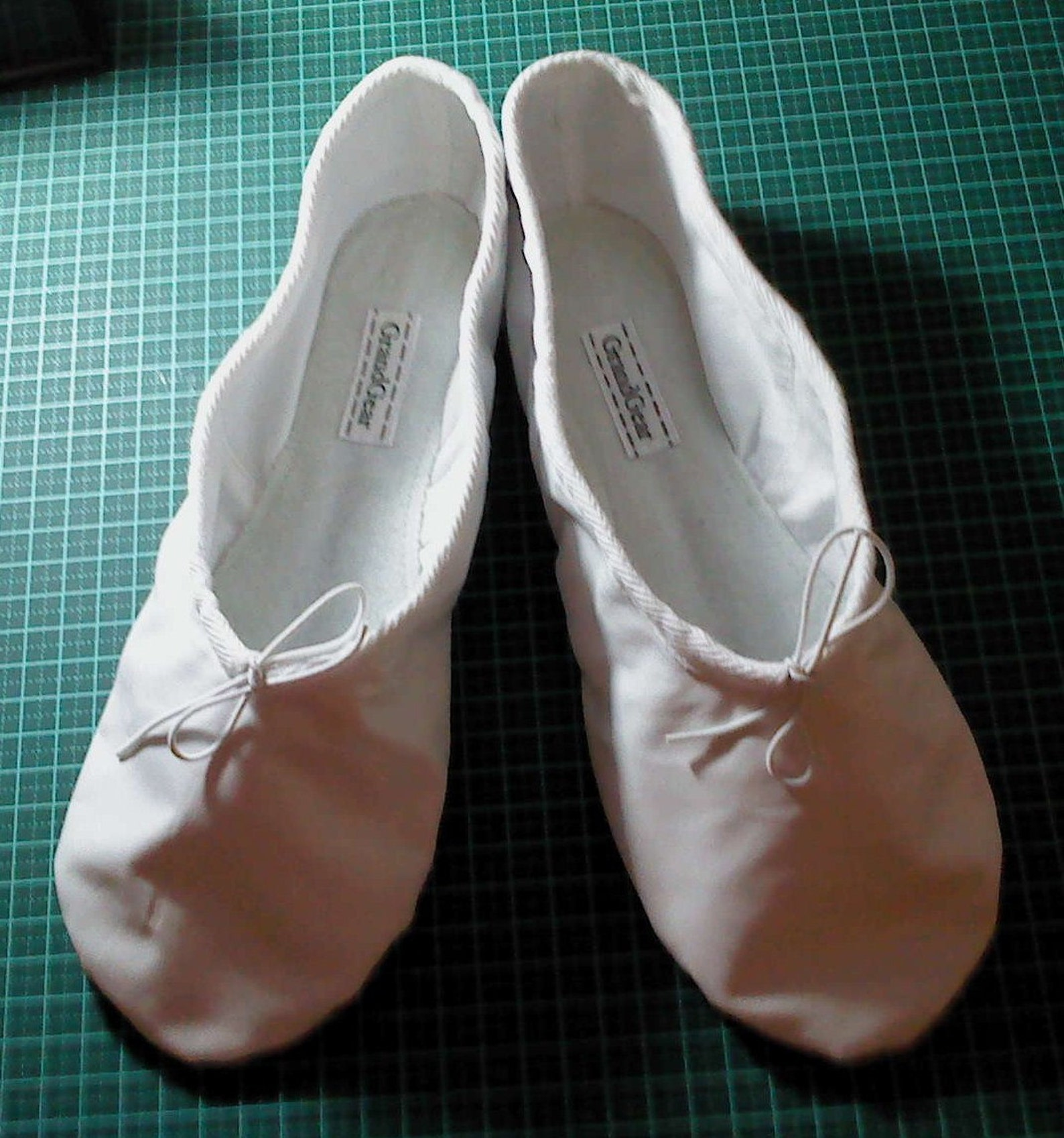 white leather ballet slipper - full sole - adult sizes