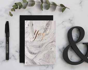 Yay card. Happy birthday card, congratulations card, calligraphy card, rose gold, celebration card, marble paper, Note card