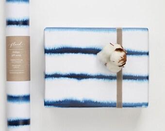 Indigo gift wrap.  50 x 70 gift wrap. Paper wrap. modern gift wrap.  Giftwrap. Unique gift wrap. Watercolour wrapping paper, modern