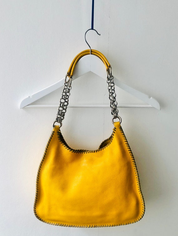 Prada yellow leather hobo bag