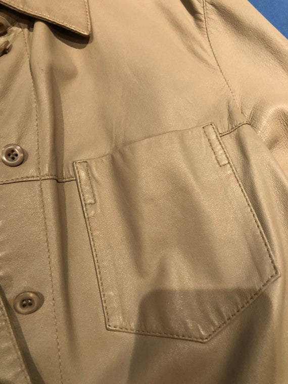 Prada leather shirt jacket - image 6
