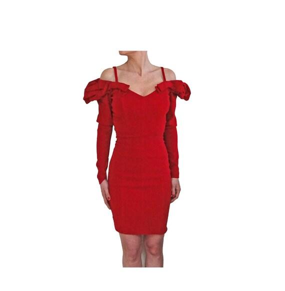 Blumarine red velvet puffy sleeve bodycon dress