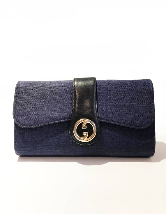 1970s Gucci Logo navy blue clutch bag