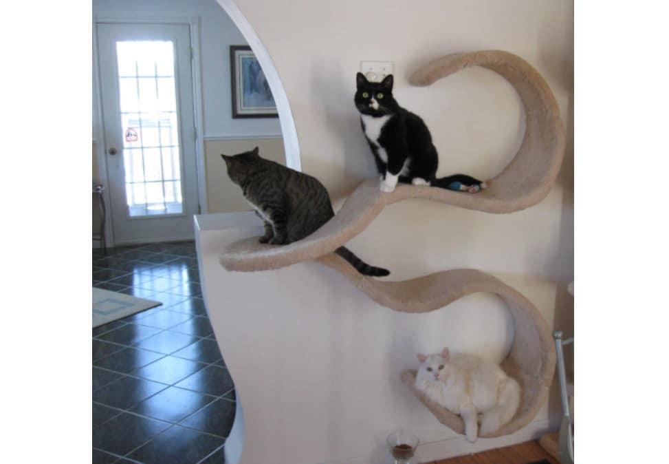 wall mounted cat shelf the double wave etsy rh etsy com cat wall shelves ikea uk cat climbing wall shelves uk