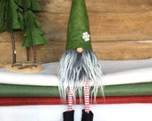 Christmas Gnome Nisse - ( 9 inch) Meadow Green color with Gray White beard, snowflake and legs