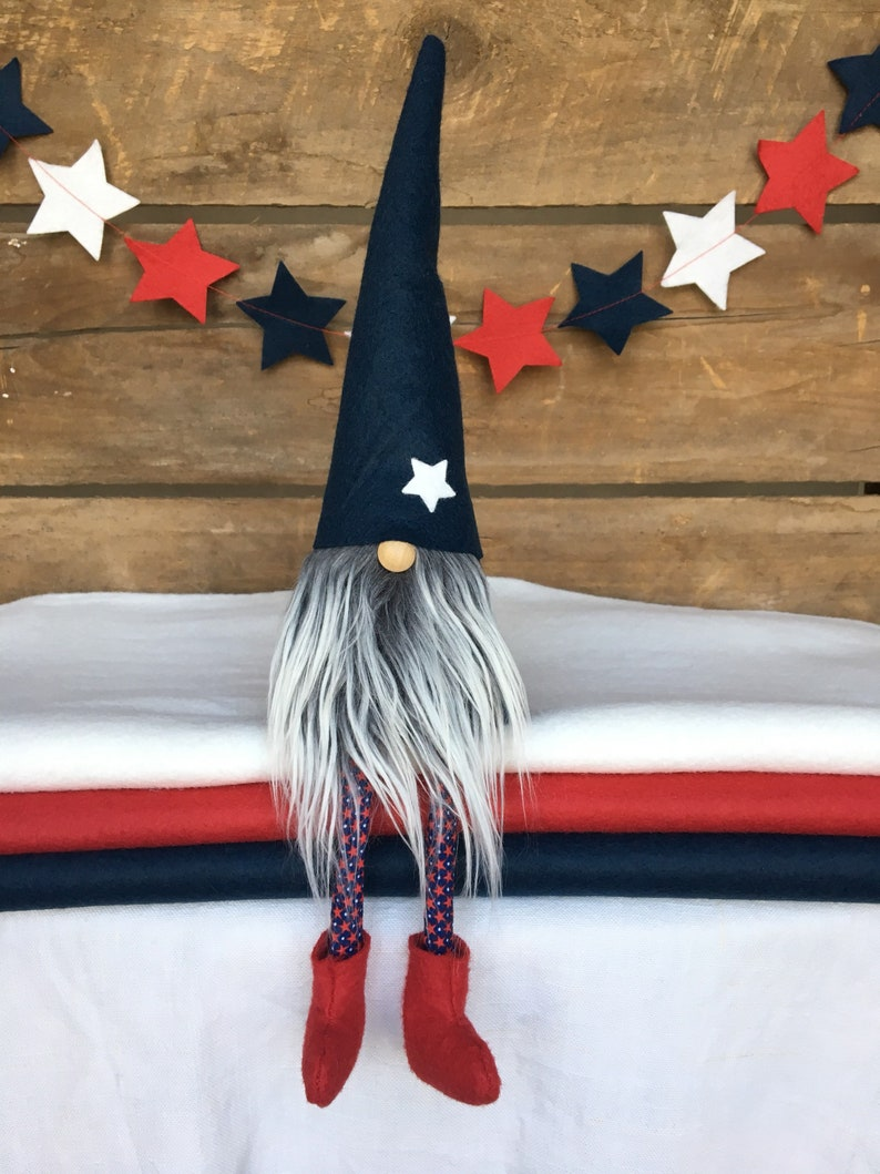 4th of July Patriotic Gnome Nisse - ( 9 inch) Midnight Blue with White/Gray  beard, legs and white star