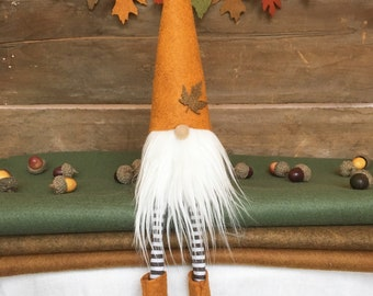 Fall/Autumn Gnome Nisse - ( 9 inch) Pumpkin color with White beard and legs