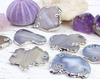 2 pcs Agate Slice Connector, Raw Rough Grey Agate Slab Pendant Bead, Silver Electroplated, 32x42 - 40x60mm, H23, Grey