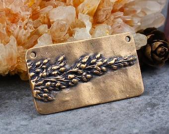 Solid Bronze Flower Rectangle Pendant Focal, Antique Bronze Floral Imprint Pendant, Botanical Imprint Pendant, 21x38mm, B10, PMC