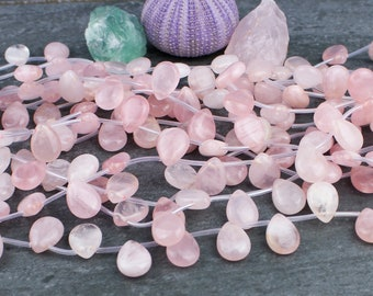 Natural Rose Quartz Side Drilled Faceted Pear Size 12x8mm 10 Pieces