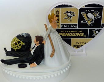 Wedding Cake Topper Pittsburgh Penguins Pens Hockey Themed w/ Bridal Garter Humorous Sports Fans Bride Groom Funny Original Unique Fun Top
