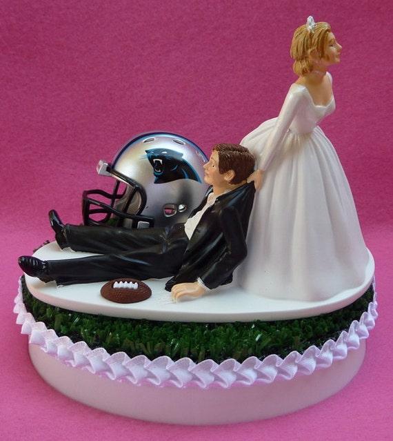 Wedding Cake Topper Carolina Panthers Football Themed Sports Etsy