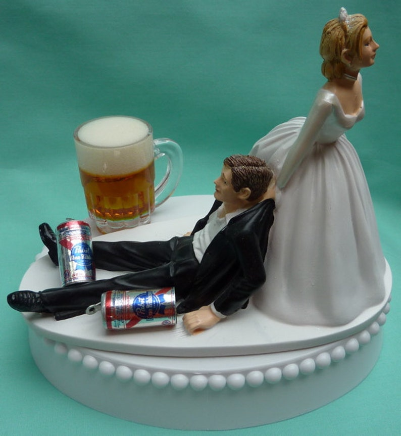 Wedding Cake Topper Pabst Blue Ribbon Pbr Beer Mug Cans Etsy