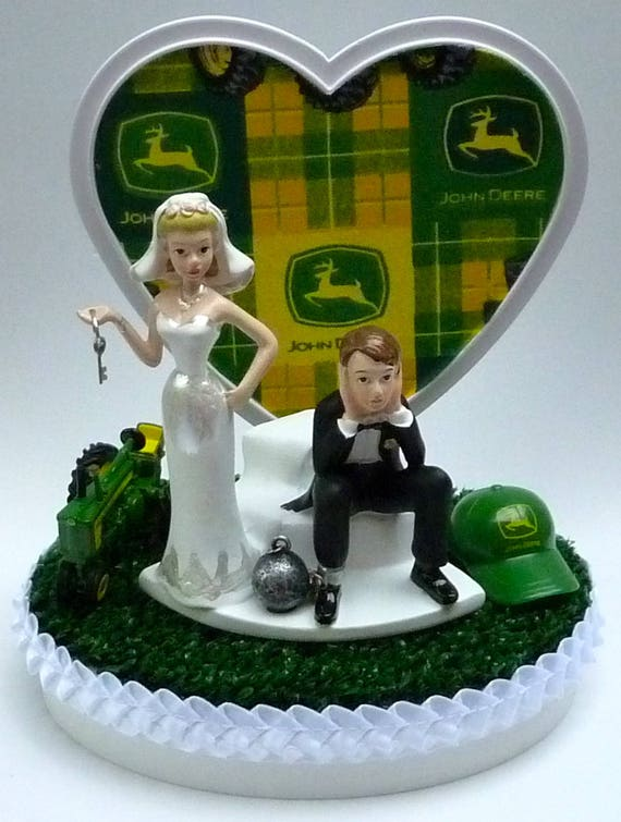 Wedding Cake Topper John Deere Tractor Themed Green Turf Cap | Etsy