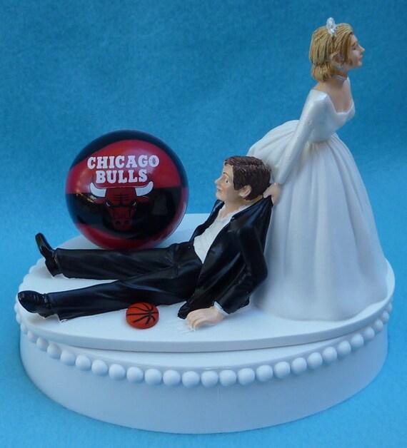 Wedding Cake Topper Chicago Bulls Basketball Themed W Bridal Etsy