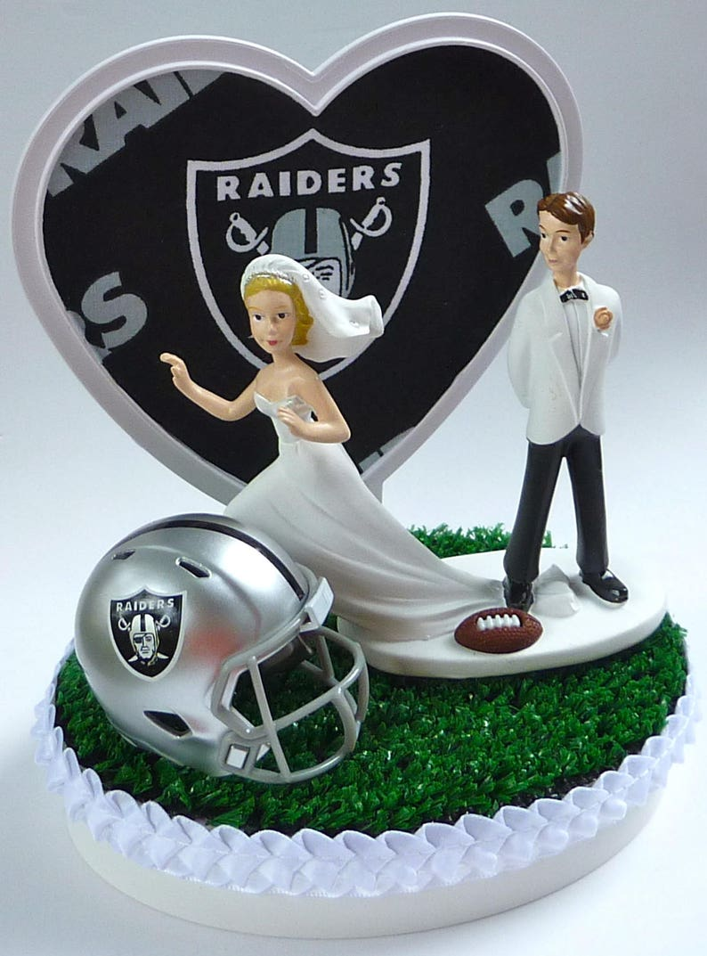 Magnificent Wedding Cake Topper Oakland Raiders Themed Football Runaway Etsy Funny Birthday Cards Online Inifofree Goldxyz