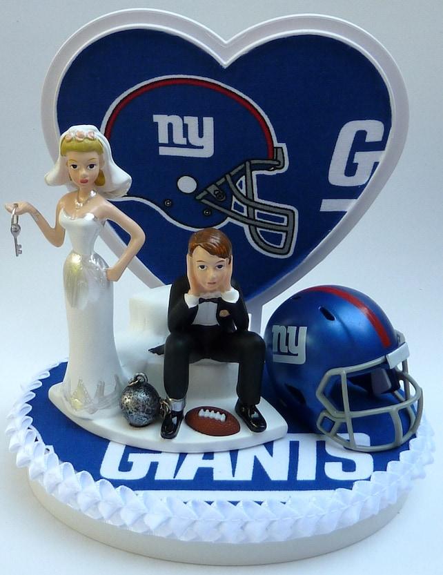 Wedding Cake Topper New York Giants Ny Football Themed Ball And