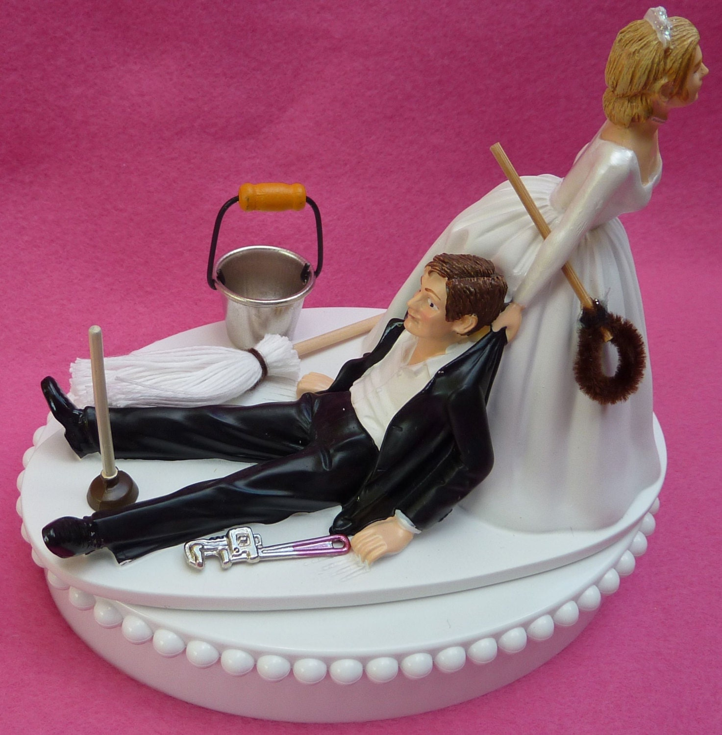 Wedding Cake Topper Janitor Themed w/ Bridal Garter Janitorial | Etsy