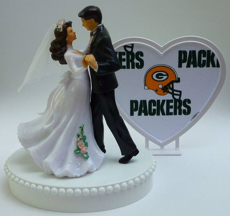 Wedding Cake Topper Green Bay Packers Football Themed Bride Etsy