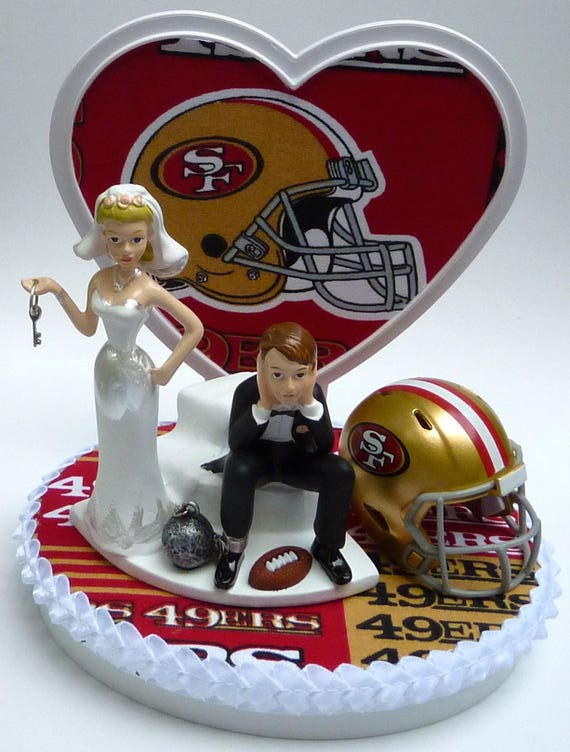 Peachy Wedding Cake Topper San Francisco 49Ers Sf Football Themed Etsy Personalised Birthday Cards Paralily Jamesorg