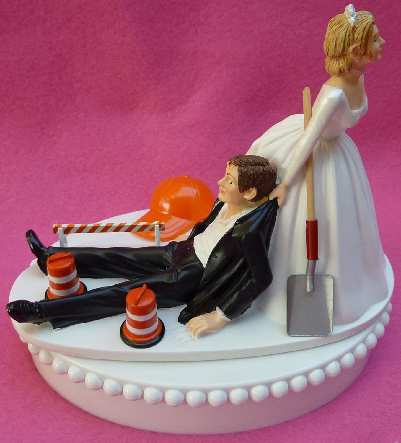 Wedding Cake Topper Construction Worker Road Crew Themed w/   Etsy