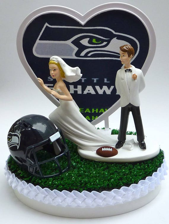Wedding Cake Topper Seattle Seahawks Football Themed Runaway Etsy