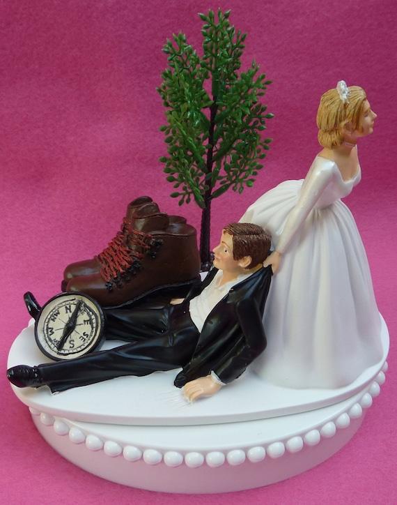 Wedding Cake Topper Hiking Fans Themed W Bridal Garter Hiker Etsy