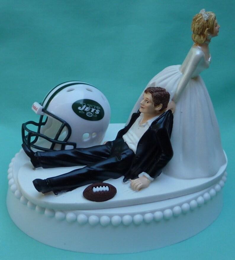 Wedding Cake Topper New York Jets NY Football Themed w/ Bridal image 0