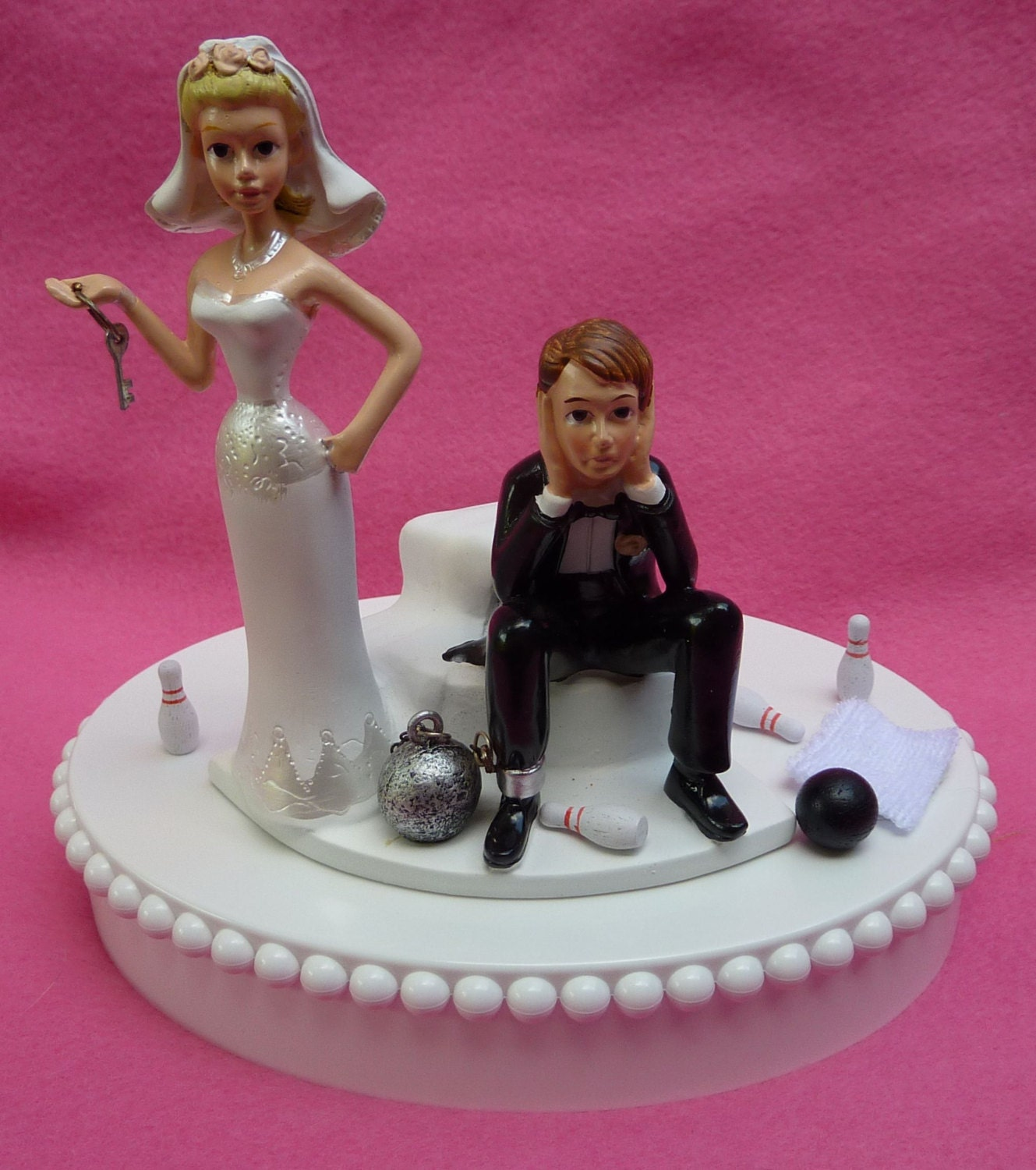 Wedding Cake Topper Bowling Groom Ball and Chain Key Themed w/ | Etsy
