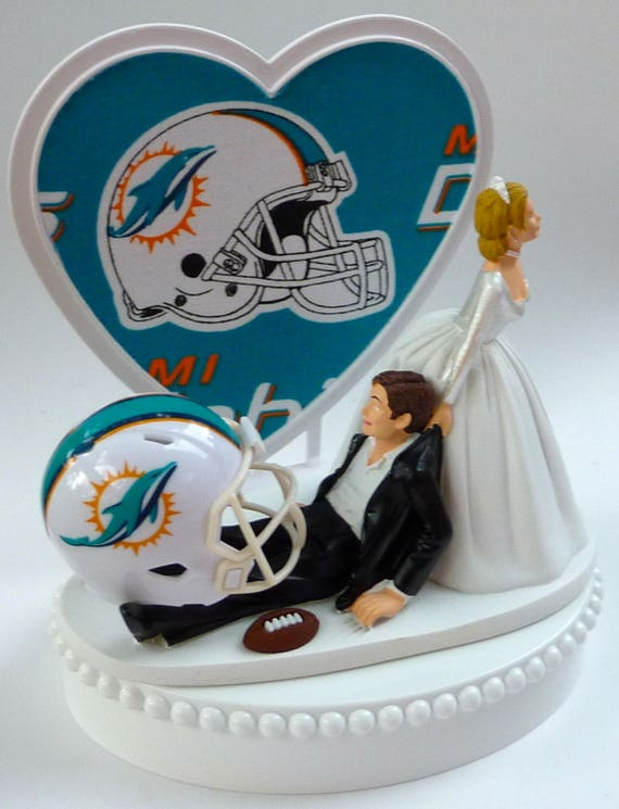 Wedding Cake Topper Miami Dolphins Football Themed W Garter Pro Sports Fans Bride And Groom His Hers Sporty Marriage Groom S Cake Top Funny