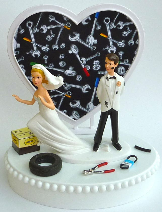 Wedding Cake Topper Runaway Bride Mechanic Groom Themed Auto Etsy