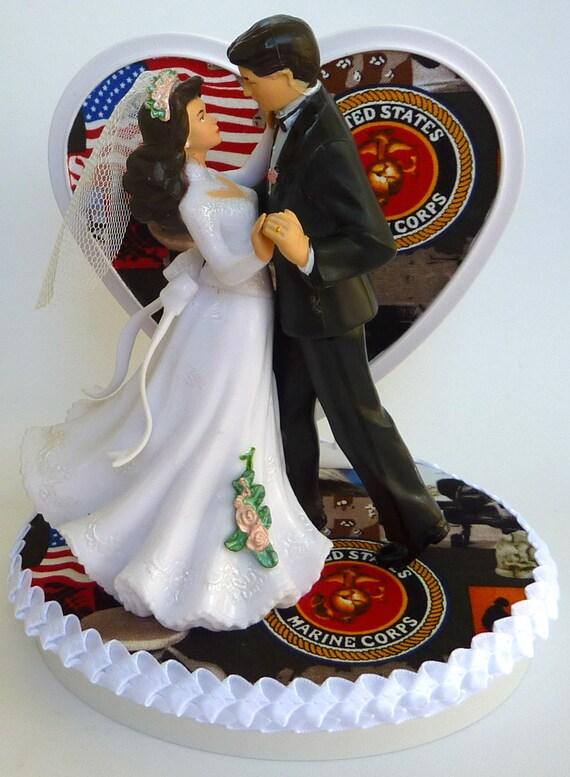 Wedding Cake Topper Us Marine Corps Themed Usmc Bride Groom Etsy