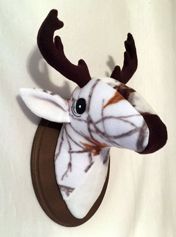 Stuffed White Camo Deer Head Stuffed Deer Head Mount Etsy