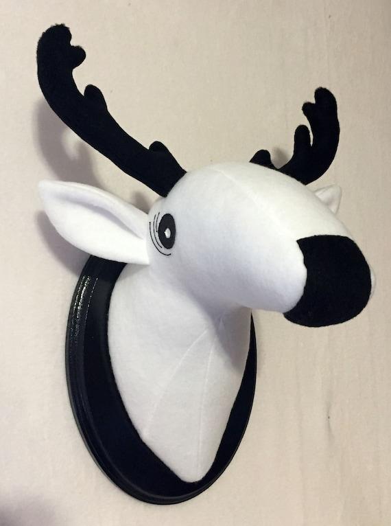 Stuffed Black And White Deer Head Faux Animal Head Stuffed Etsy